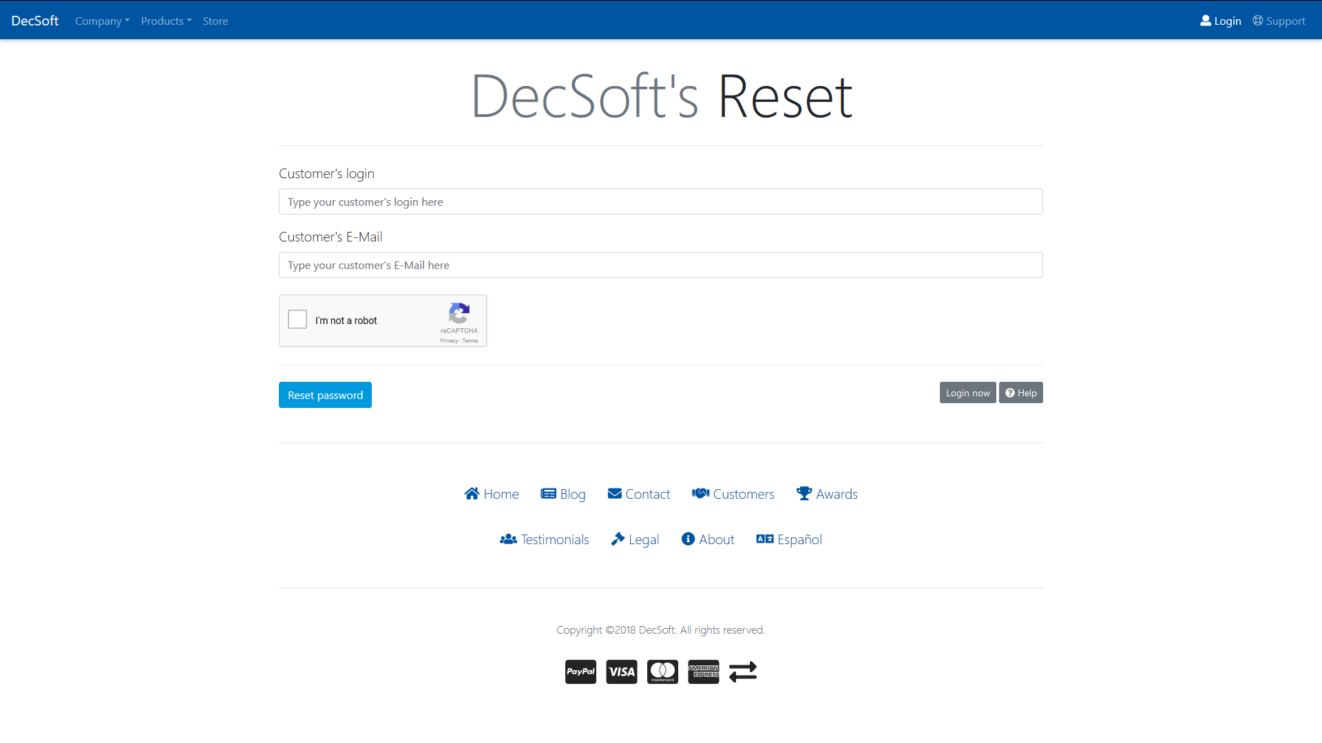The DecSoft's customer's login form